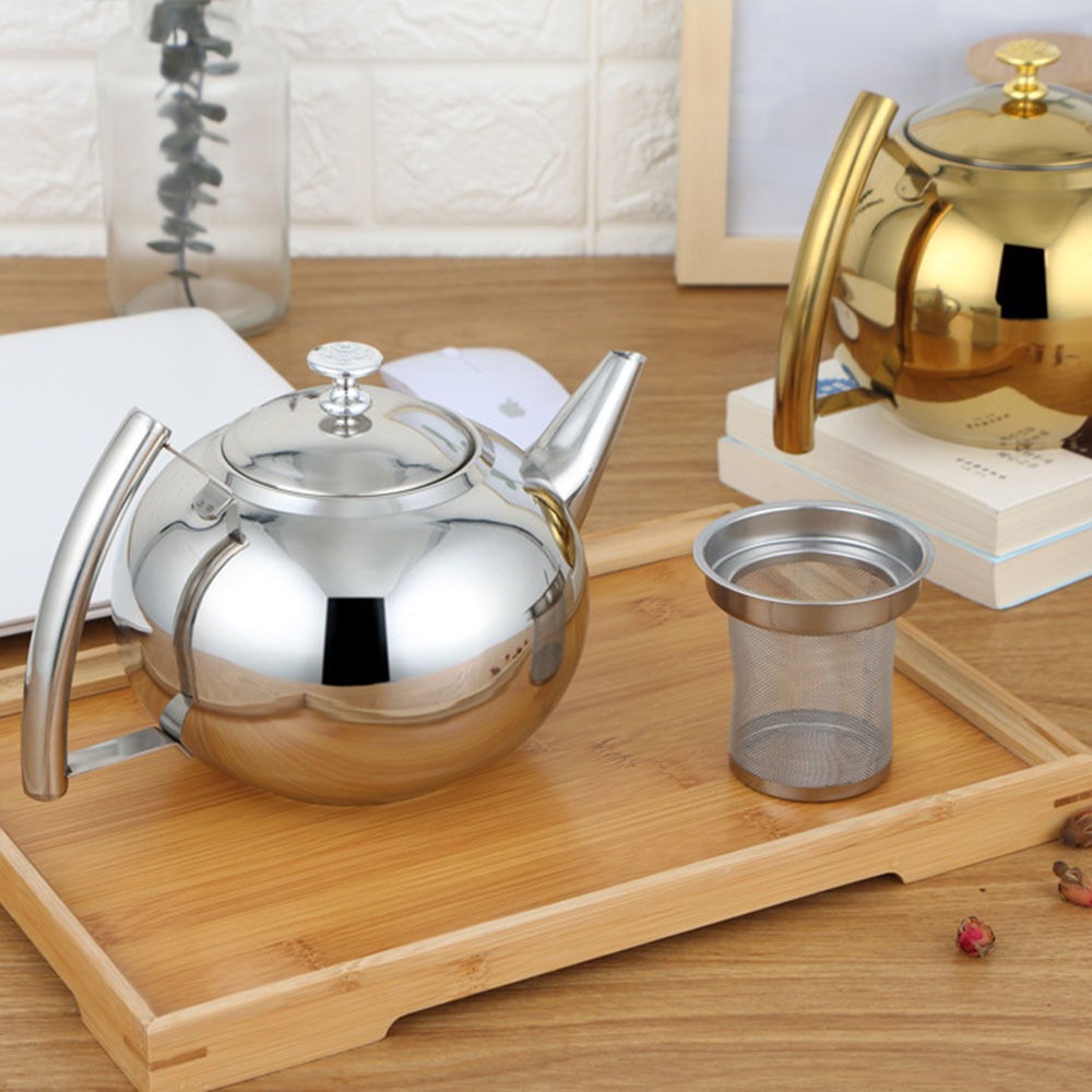Silver Gold Colors 1.5L/2L Teapots Stainless Steel Water Kettle Hotel Tea Pot With Filter Hotel Coffee Pot Restaurant Tea Kettle
