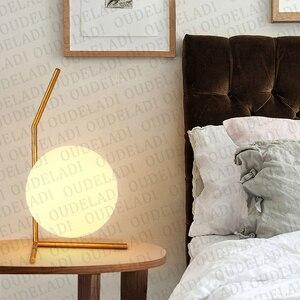 Image 4 - 現代のガラス玉テーブルランプゴールド北欧シンプルな寝室のベッドサイド読書デスクランプ家の装飾 LED テーブルライト Lamparas