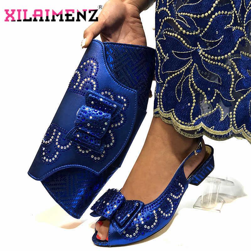 Royal Blue Nuovo Arrivo Sandali Italiana con i Sacchetti di Corrispondenza Set Decorato con Le Donne Di Cristallo Scarpe e Set Borsa per il Partito