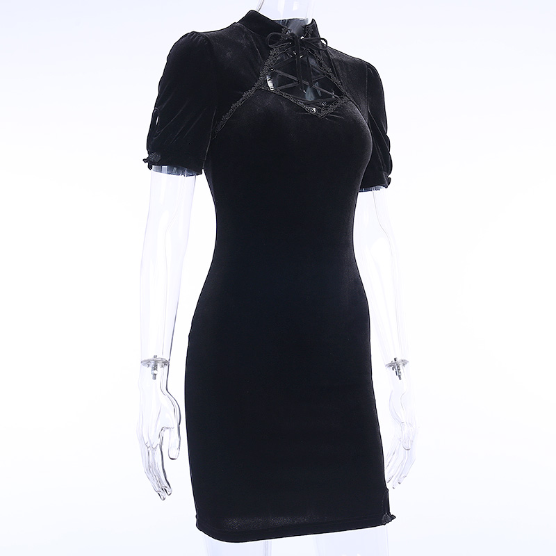 H1d18b32c3d804c249c3f4dd1d68f77beS - InsGoth Retro Bandage Black Short Sleeve Mini Dress Women Gothic Streetwear Female Dress Elegent Vintage Party Dress