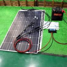 12v kit painel solar flexível 100w 200w 300w painéis de energia solar com controlador solar para o barco do carro RV e carregador de bateria