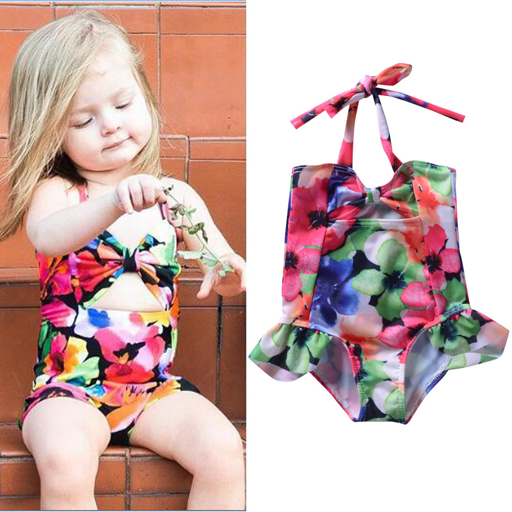 KID'S Swimwear Europe And America Girls Flower Printed Camisole One-piece Swimming Suit