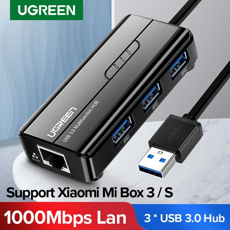 Ugreen USB Ethernet USB 3,0 2,0 к RJ45 концентратор для Xiaomi Mi Box 3/S телеприставка Ethernet адаптер Сетевая карта USB Lan