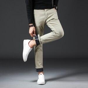 Image 2 - 2019 חורף חדש גברים של Slim חם מכנסי קזואל עסקי אופנה קלאסי סגנון כותנה למתוח הדוק לעבות מכנסיים זכר מותג