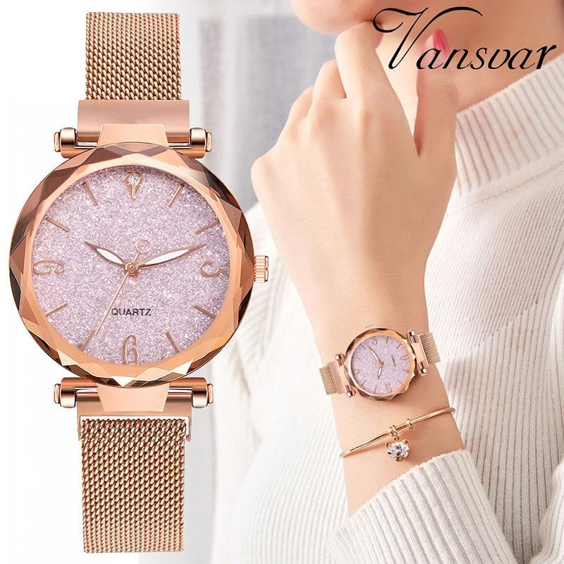 Rose Gold Women Watch 2019 Top Brand Luxury Magnetic Starry Sky Lady Wrist Watch Mesh Female Clock For Dropship Relogio Feminino
