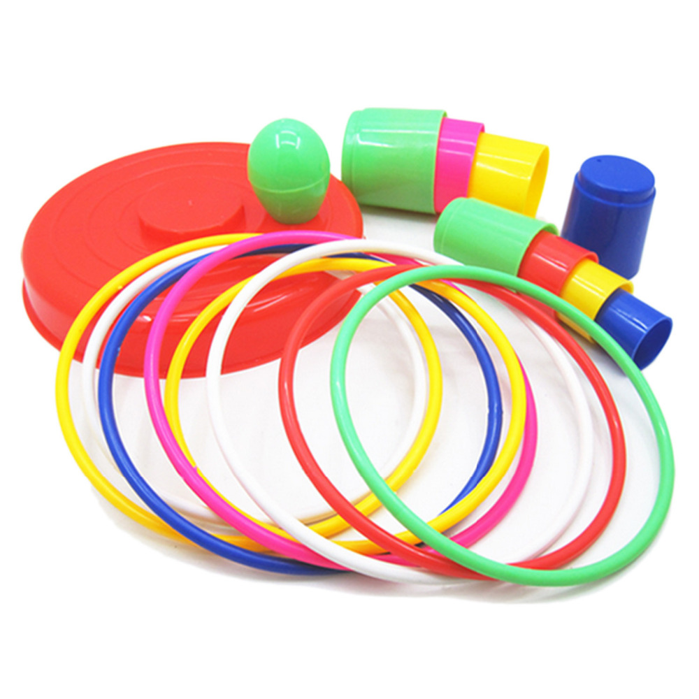 18 Pcs Outdoor Indoors  Garden Games Gymnastic Hoop Ring Toss Game Toys Set Colorful Plastic Funny Ring Game For Kids Adults