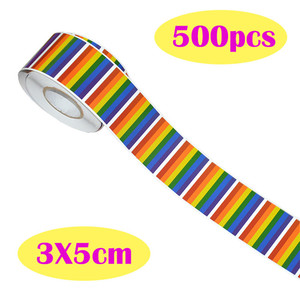 Image 2 - 500pcs Gay Pride Rainbow Heart Sticker Roll Heart Shape Labels Suitable for Gift Crafts Envelope Car Sticker