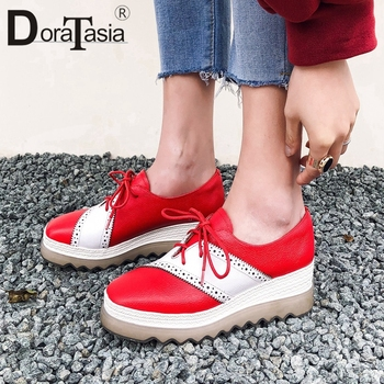 DORATASIA Brand Genuine Leather Female Sneakers Casual Leisure Sneakers Women Round Toe Lace Up Mixed Color Shoes Woman