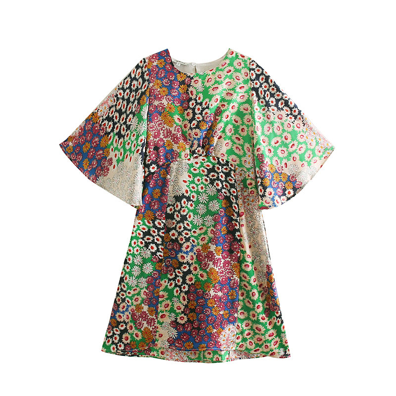 2020 New Women Cloth Patchwork Floral Print Backless Mini Dress Female Elegant Flare Sleeve Vestidos Casual Party Dresses
