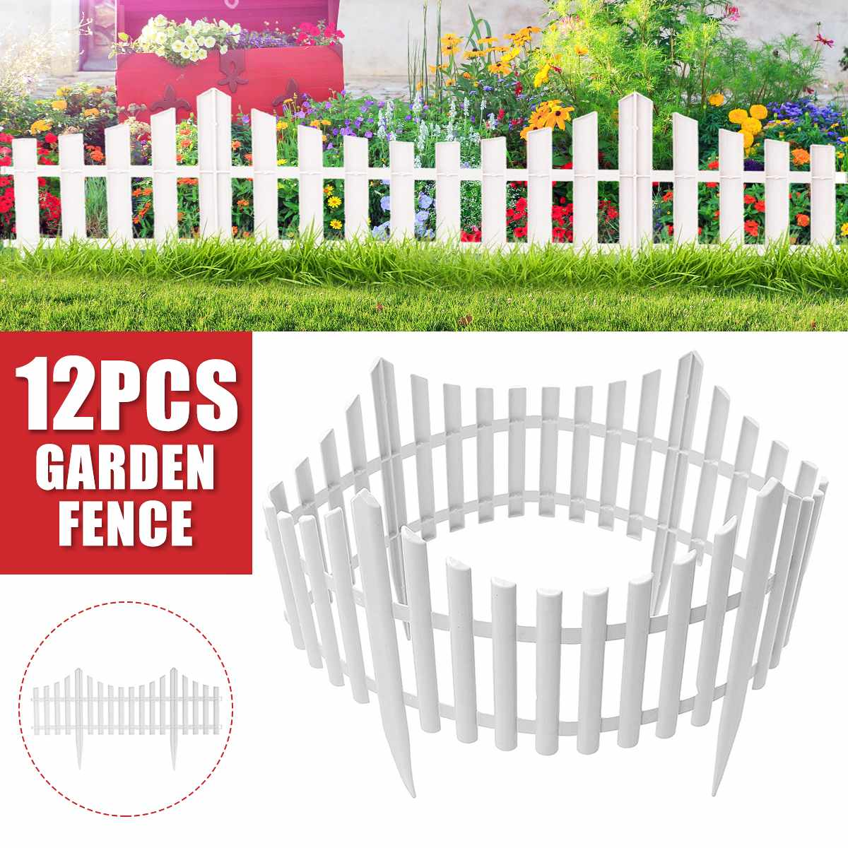 610x330mm 12Pcs Plastic Garden Border Fencing Fence Pannels Outdoor Landscape Decor Edging Yard Easy Install  Insert Ground Type