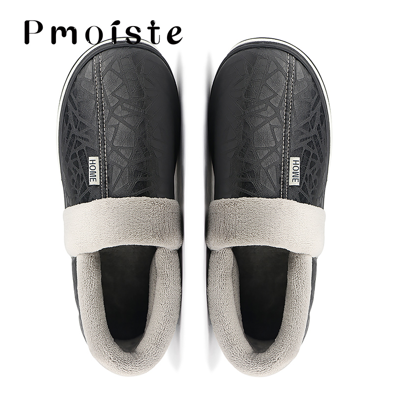Winter Slippers Men Large Size 7-15 Soft Non-slip Warm Home Slippers For Men Plush Waterproof Leather Slippers 2019 New
