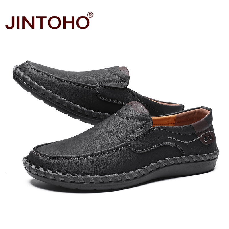 JINTOHO Fashion Brand Men Shoes Men Genuine Leather Shoes Casual Men Shoes Male Leather Shoes Slip On Men Loafers 2