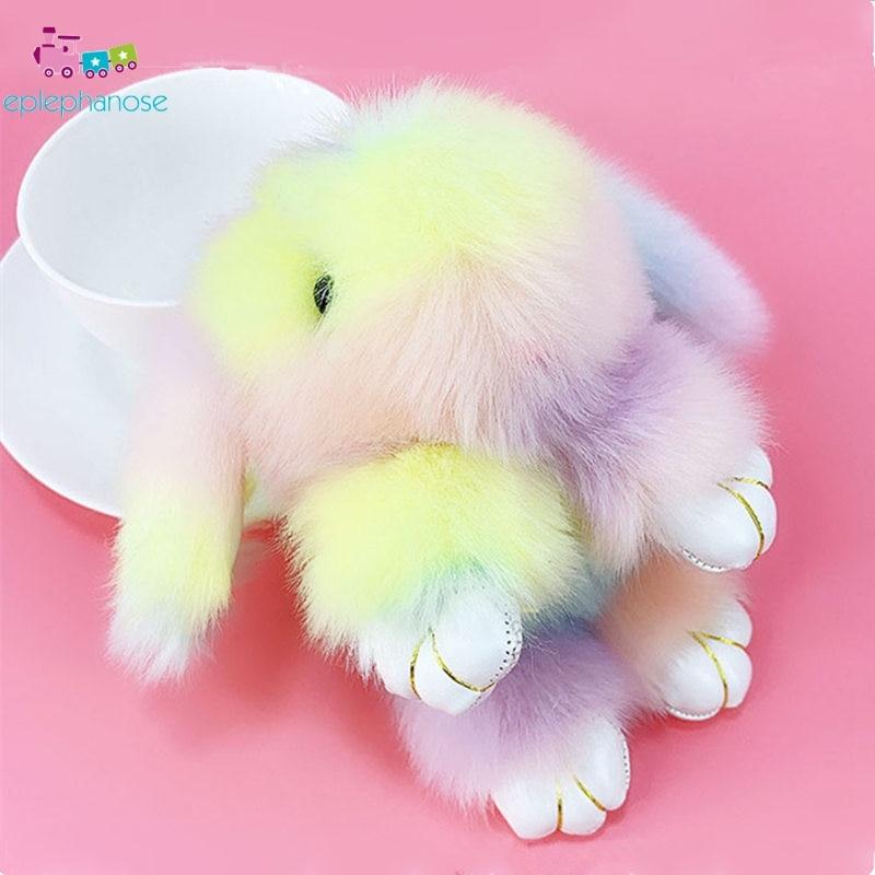 Light Rainbow Color Faux Fur Fluffy Rabbit Plush Toys Stuffed Doll Toys Kids Girls Gift Bag Key Pendant Keychain Bunny Toys