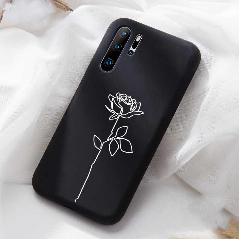 Yaratıcı tasarım kız yumuşak siyah TPU silikon kılıfları için Huawei P40 Lite P20 Pro P30 telefon kılıfı için P20Lite onur 10 20 mat kılıf