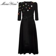 MoaaYina Fashion Designer dress Spring Autumn Womens Dress Beading Button Lace up Black Elegant Dresses