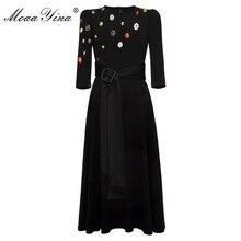 MoaaYina Mode Designer kleid Frühling Herbst frauen Kleid Perlen Taste Spitze up Schwarz Elegante Kleider