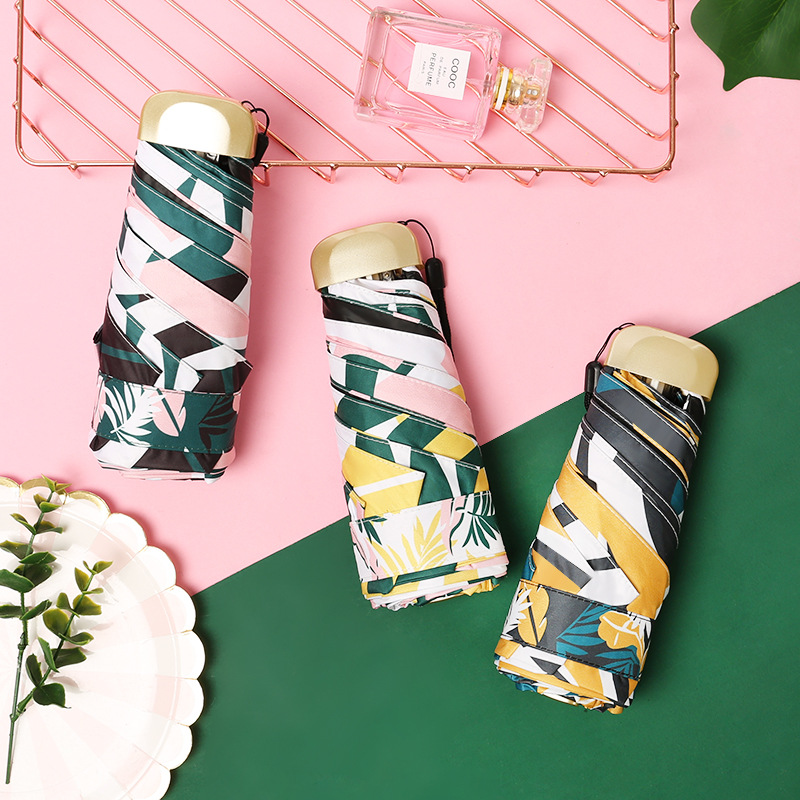 New Style Mini Flat Five-fold Umbrella Folding Umbrella Sun-resistant UV-Protection Umbrella Can Be A Generation Of Fat Manufact