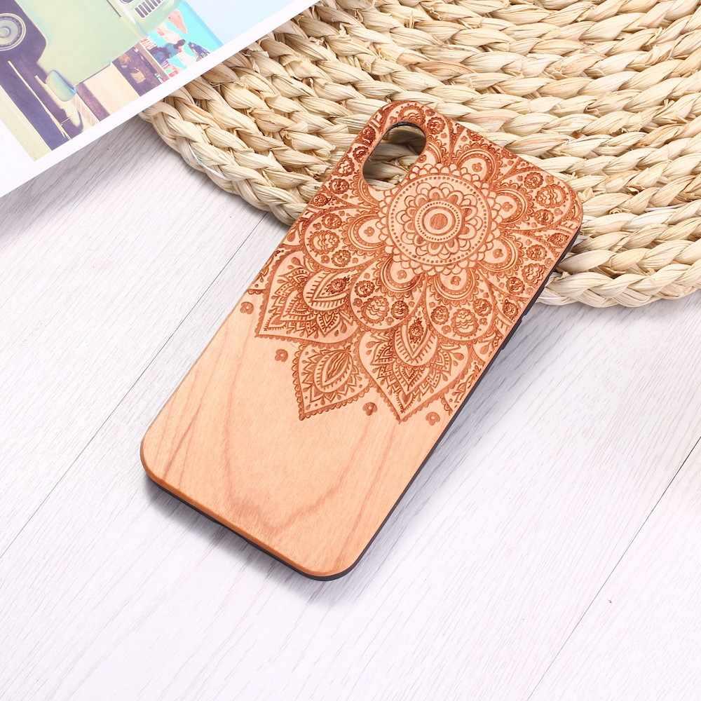 Vintage Henna Mandala ดอกไม้ไม้แกะสลักโทรศัพท์กรณี Coque Funda สำหรับ iPhone 6 6S 6Plus 7 7Plus 8 8Plus XR X XS สูงสุด 11 Pro Max