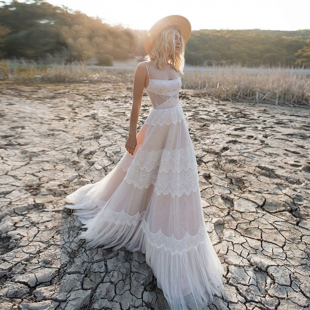 Spaghetti Straps A-Line Destination Nude/Champagn Wedding Dress Lace Up Back Cut Out Side Bridal Dress with Belt 1