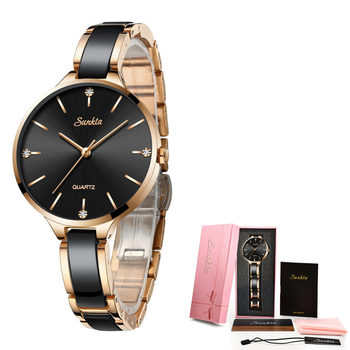Relogio Feminino SUNKTA Women Watches Waterproof Top Brand Luxury Watch Women With Ceramics And Metal Strap Relojes Para Mujer 8