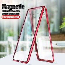 360 proteção Caso Magnética Para samsung s10 mais vidro Back cover + frente Sobre o para Galaxy s10E s10plus s10 + s 10 coque de Metal