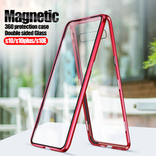 360 protection Magnetic Case For samsung s10 plus Glass back+Front cover on the For galaxy s10E s10plus s10+ s 10 Metal coque