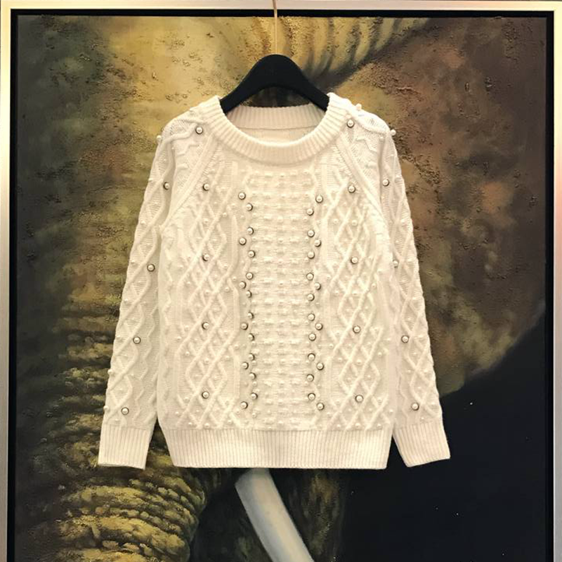 Handmade Bead Knitted Sweater Women Autumn White Pearl Plaid Flower Texture Soft Jersey Jumper Long Sleeve Knit Pullover Top