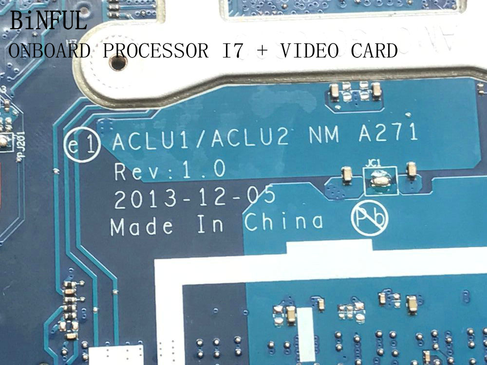 BiNFUL SUPER NEW ITEM !!  ACLU1/ ACLU2 NM-A271 SUITABLE FOR LENOVO G50-70 LAPTOP MOTHERBOARD WITH PROCESSOR I7 +VIDEO CARD
