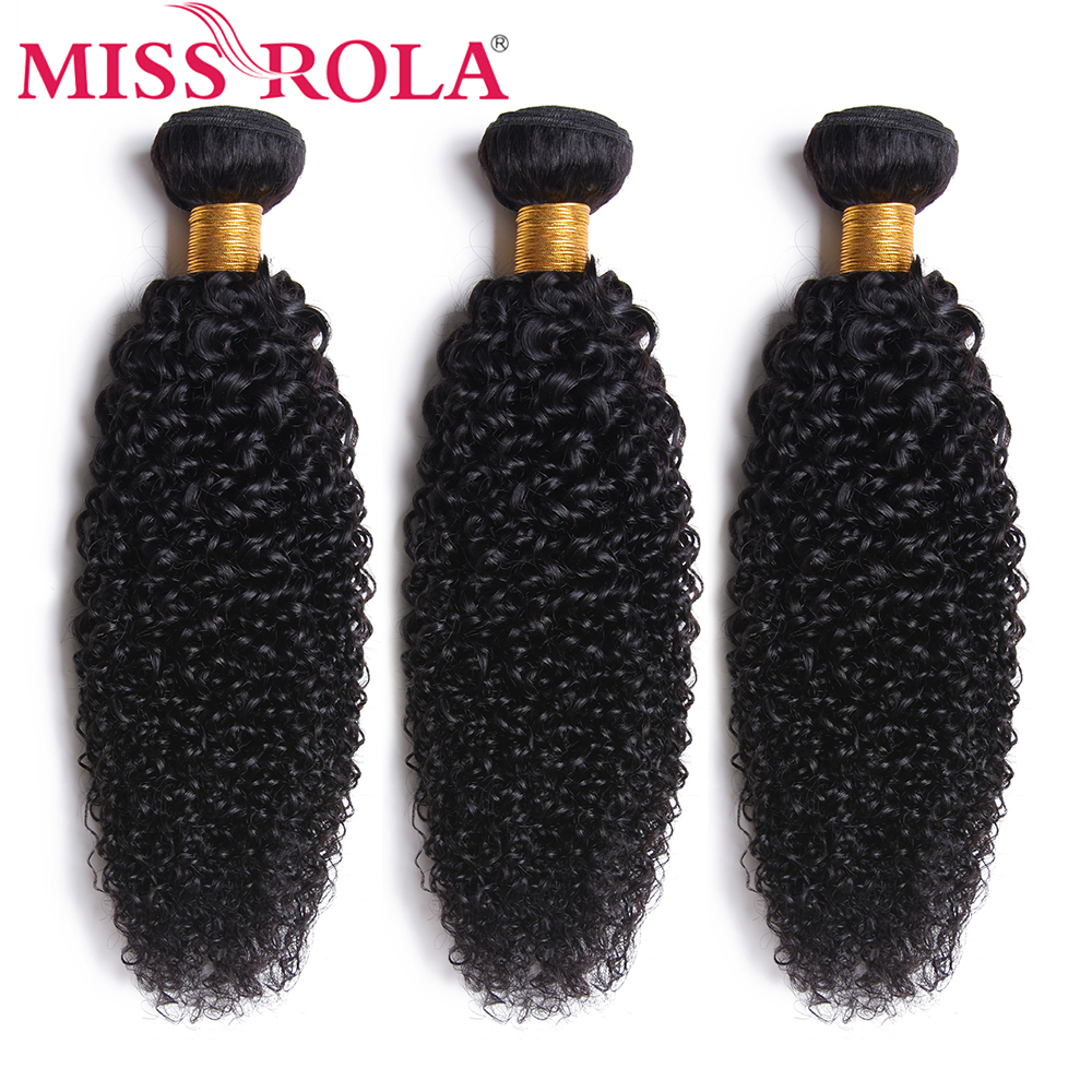 Miss Rola Hair Malaysian Kinky Curly Hair Wave Bundles 8-26 Inches 100% Human Hair 3 Pcs Non-Remy Hair Extensions Natural Color