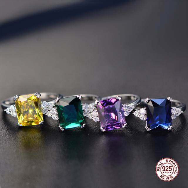 2019 New Fine Engagement Ruby Ring 925 Sterling Silver Rings Amethyst Gemstone Ring Silver Emerald Blue Sapphire Ring For Women 5
