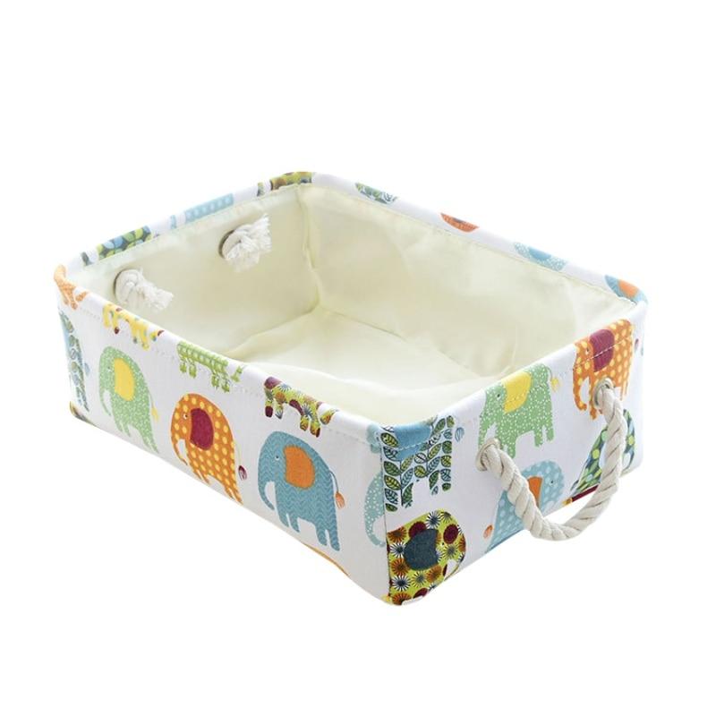 Cute Cartoon Storage Baskets Home Laundry Basket Folding Storage Basket Child Toy Container Desktop Cosmetics Sundries Organizer in Storage Baskets from Home Garden
