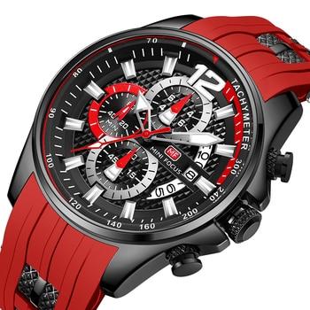 MINI FOCUS Fashion Men's Watches Top Brand Luxury Quartz Waterproof Sports Clock Wristwatch Relogio Masculino Red Silicone Strap 1