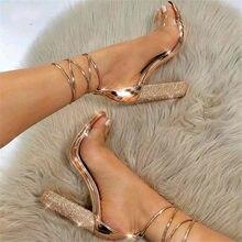 Grande size34-43 mulheres sandálias de salto alto bandagem strass tornozelo cinta bombas super salto alto 11 cm saltos quadrados senhora sapatos