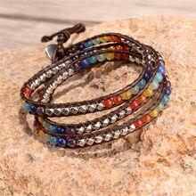 Pulsera de Chakra para el hogar, brazalete multicolor con cuentas de cristal de lujo, de pie