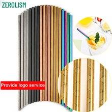 100 Pcs ลวดลายขายส่งโลหะฟางที่มีสีสันสแตนเลสสตีลฟาง E Co แบบพกพาดื่มหลอดสำหรับ 20/30