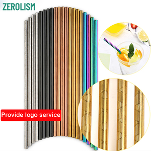 Image 1 - 100 Pcs Patterned Wholesale Metal Straw Colorful Reusable Stainless Steel Straw E co Friendly Portable Drinking Tubes For 20/30