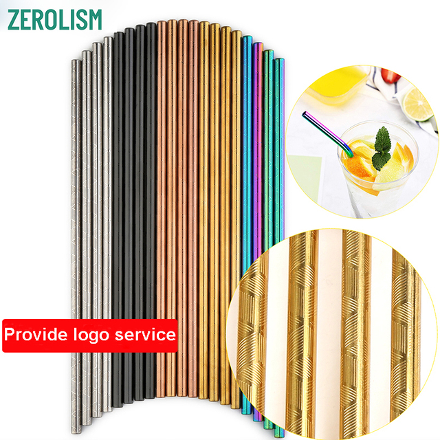 100 Pcs Patterned Wholesale Metal Straw Colorful Reusable Stainless Steel Straw E co Friendly Portable Drinking Tubes For 20/30