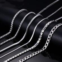 Meaeguet, Классическая Серебряная цепочка из нержавеющей стали, ожерелье, змея/коробка/висячая/бордюрная/Плоская/крученая цепочка, 24 дюйма