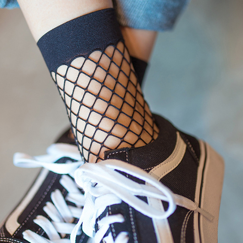 2 pairs Mesh femme Sexy  In The Net Fishnet Sock  Paragraph Hollow Ankle Women's Socks  Calcetines  socks cheap Breathable best