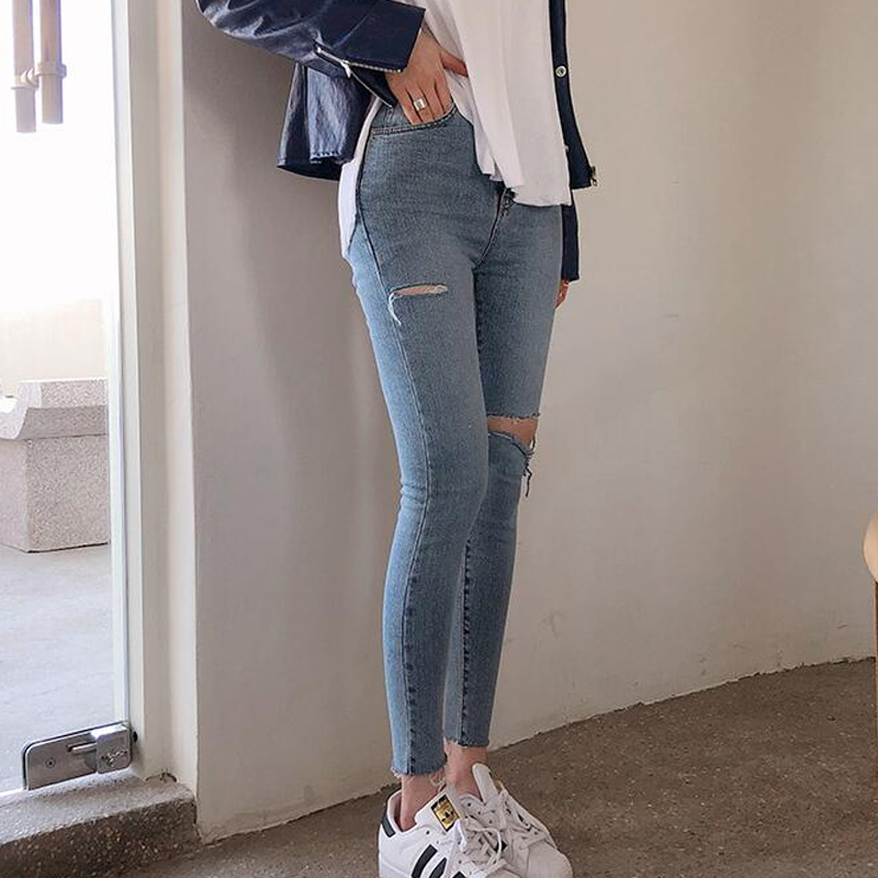 BGTEEVER Streetwear Denim Blue High Waist Jeans Woman Vintage Ripped Holes Jeans for Women Pockets Skinny Pants Female 2019 Women Women's Clothings Women's Jeans cb5feb1b7314637725a2e7: Light blue