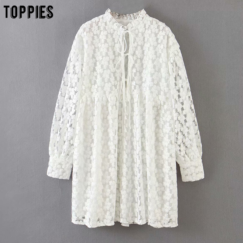 toppies white embroidery dress summer lace mini dress womens sexy bandage sexy v-neck blouses(China)