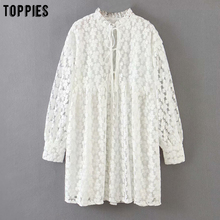 Embroidery Dress Blouses V-Neck Bandage Sexy Lace Toppies White Summer