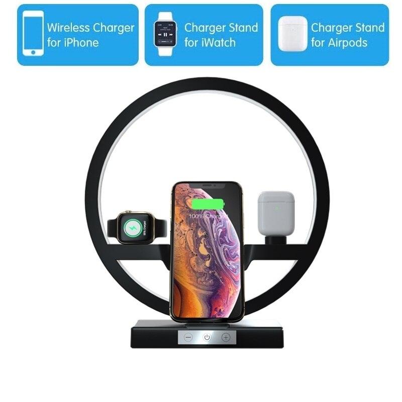 Tongdaytech 10W Led Qi Cargador inalámbrico rápido para Iphone 11 Pro Max X XR 8 los Airpods de Apple reloj 5 4 3 2 1