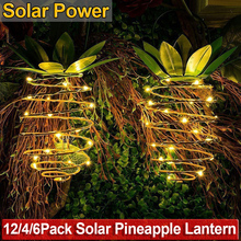 Solar Garden Light Pineapple Shape Outdoor Solar Hanging Light Waterproof Wall Lamp Night Lights Iron Wire Art Home Decor D20