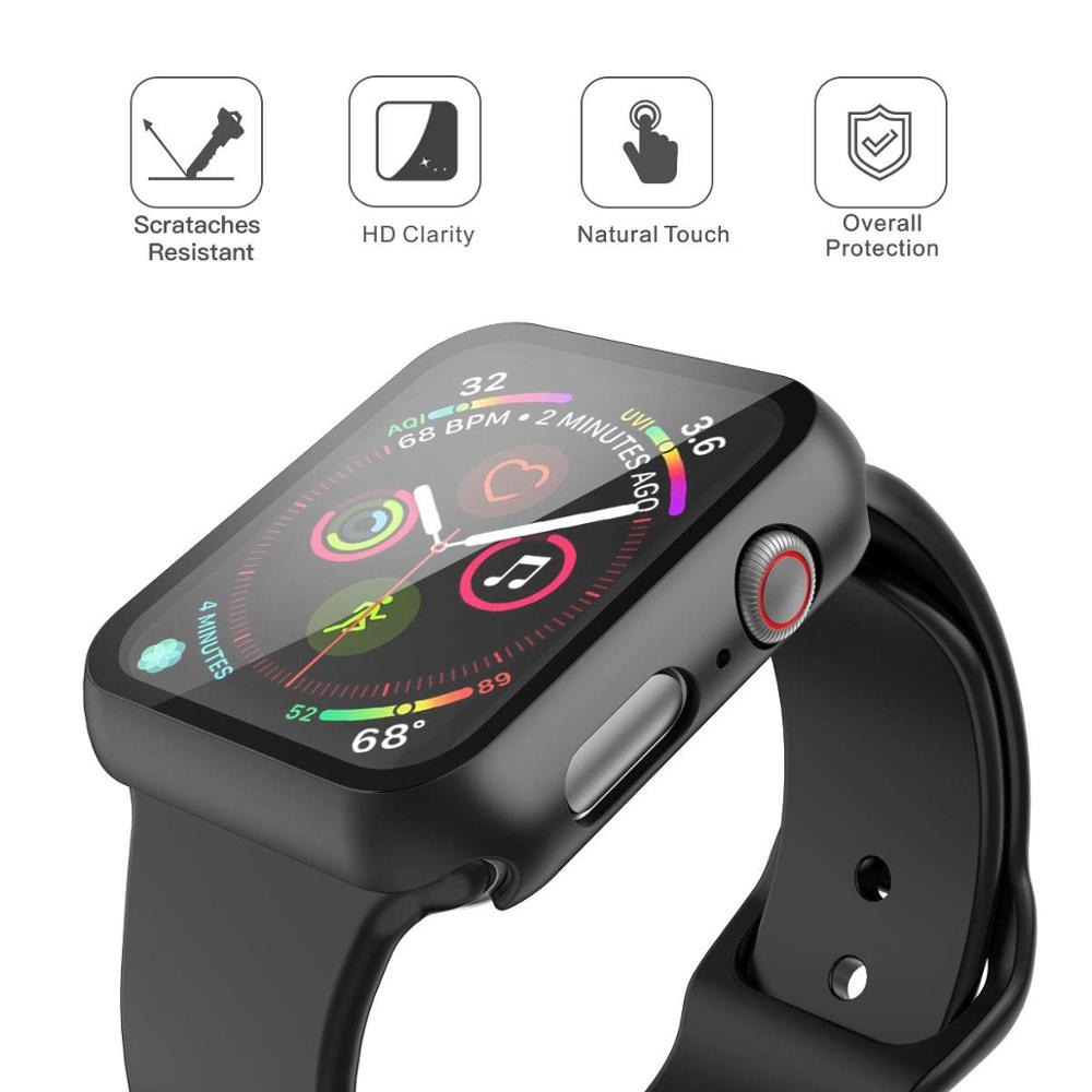 360 full Screen protector Bumper Frame matte hard Case for Apple watch 5/4/3/2/1 cover Tempered glass film for iwatch 4/5 3