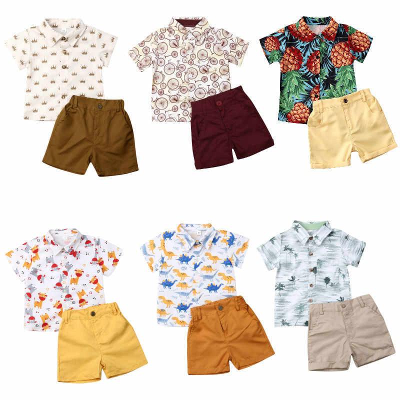¡Novedad de 2020! ropa de verano para niños y niños, camiseta para caballero, Tops, pantalones cortos, conjuntos de ropa informal para niños y bebés de 2 uds.