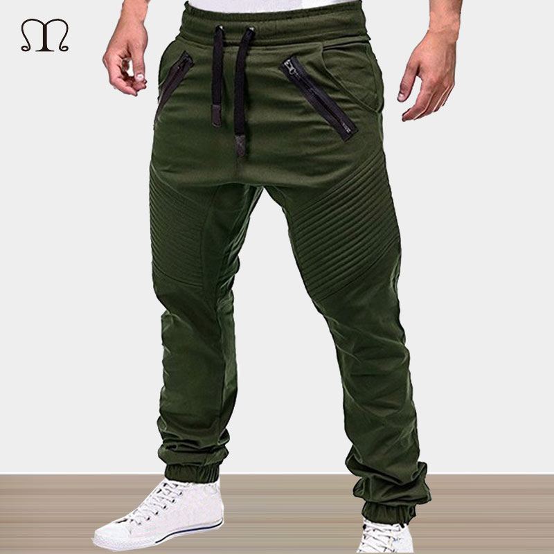 Mens Joggers Pants Skinny Brand Zip Cotton Fitness Men Sweatpants Casual Elastic Bodybuilding Pants Army Military Trousers Male