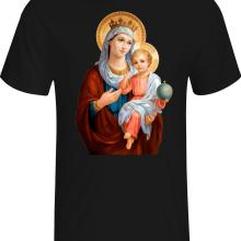 T-Shirt Black Blessed Tees Catholic Cotton Summer O-Neck Designs Men Mary