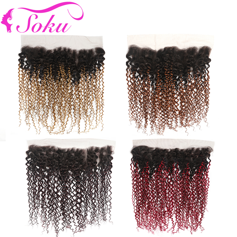 Kinky Curly 13x4 Lace Frontal Closure 8-20 Inch Free/Middle Part Swiss Lace Closure Non-Remy Brazilian Human Hair Closure SOKU
