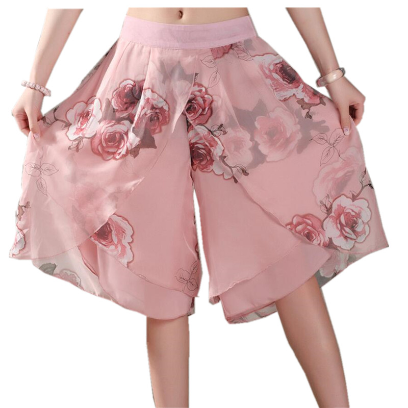 2019 Women Print Chiffon   Pants     Capris   Female Knee-Length Wide Leg   Pants   Vintage Casual   Pants   Women Culottes S415